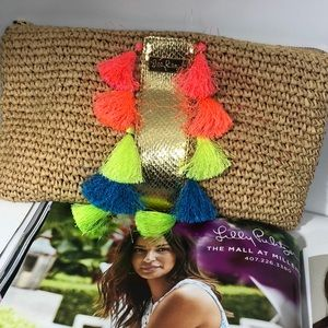 Lilly Pulitzer Straw Multi Color Tassel Bag